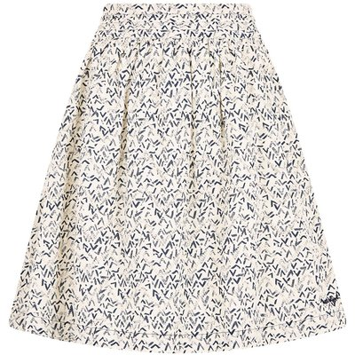 Weird Fish Haywood Printed Voile Skirt Dark Navy