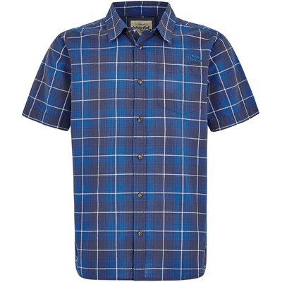Weird Fish Charter Short Sleeve Check Shirt Aztec Blue