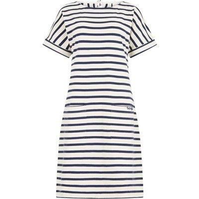 Weird Fish Etta Striped Jersey Dress Light Cream