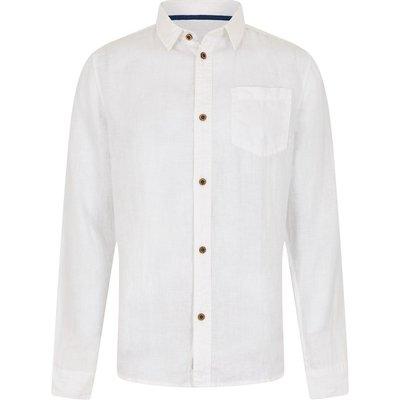Weird Fish Sorrel Long Sleeve Linen Shirt Dusty White