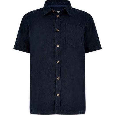 Weird Fish Woody Short Sleeve Linen Shirt Dark Navy