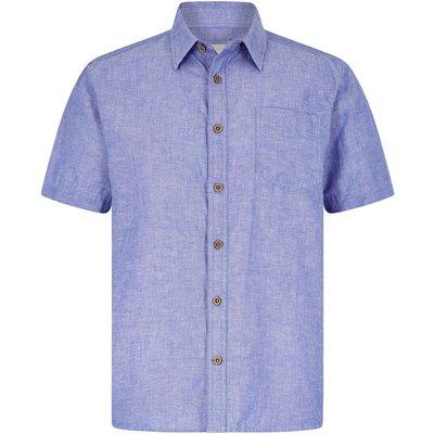 Weird Fish Lanark Short Sleeve Linen Shirt Denim