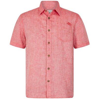 Weird Fish Lanark Short Sleeve Linen Shirt Dark Red
