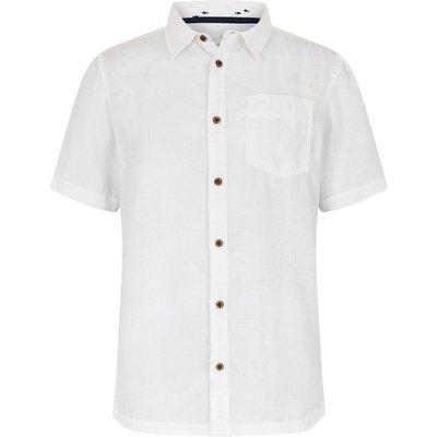 Weird Fish Nevis Short Sleeve Linen Shirt Dusty White