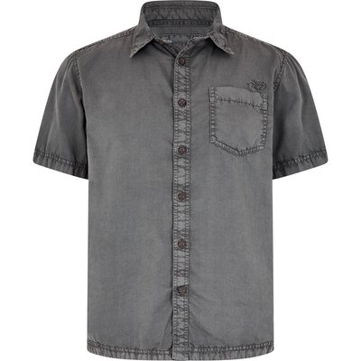 Weird Fish Salen Garment Dyed Twill Shirt Steel Grey