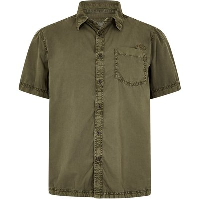 Weird Fish Salen Garment Dyed Twill Shirt Khaki Green