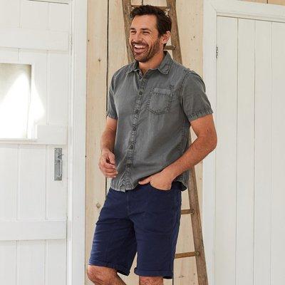 Weird Fish Salen Garment Dyed Twill Shirt Steel Grey