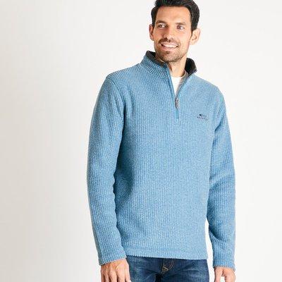 Weird Fish Newark 1/4 Zip Grid Fleece Sweatshirt Deep Sea Blue