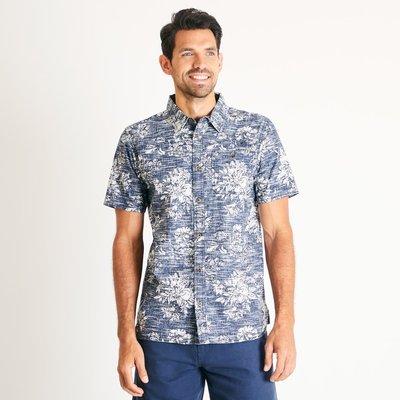 Weird Fish Florian Patterned Short Sleeve Shirt Navy