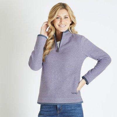 Weird Fish Beyonce 1/4 Zip Grid Fleece Sweatshirt Dewberry