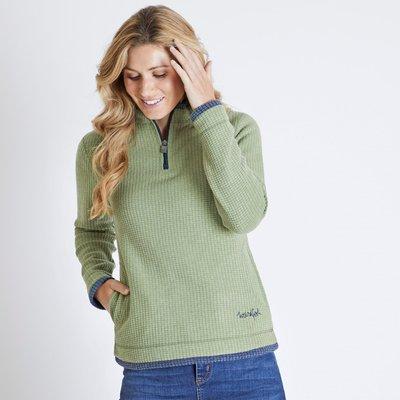 Weird Fish Beyonce 1/4 Zip Grid Fleece Sweatshirt Pear