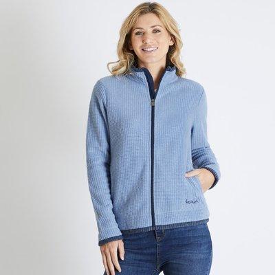 Weird Fish Ariana Grid Fleece Jacket Light Blue