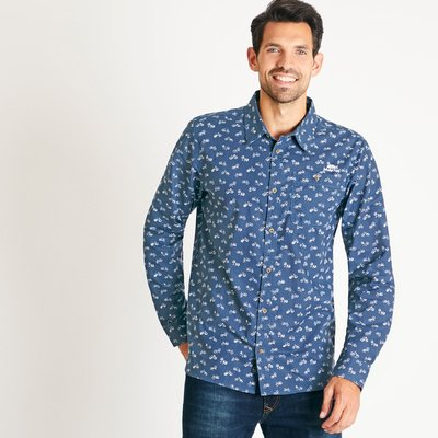 Weird Fish Antoine Patterned Long Sleeve Cotton Shirt Navy