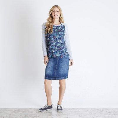 Weird Fish Freya Printed Longer Length T-Shirt Navy Blue