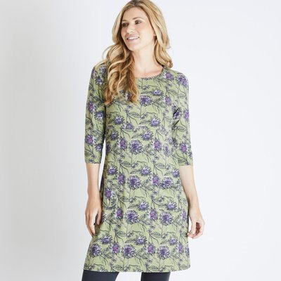 Weird Fish Starshine Printed Jersey Dress Pear