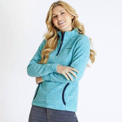 Weird Fish Nancy 1/4 Zip Melange Fleece Sweatshirt Teal Blue