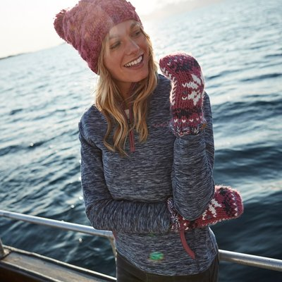 Weird Fish Nancy 1/4 Zip Melange Fleece Sweatshirt Dark Navy