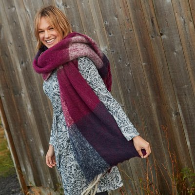 Weird Fish Katy Brushed Scarf Purple Potion