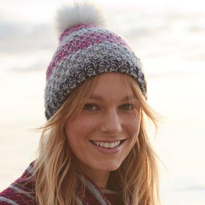 Weird Fish Joanna Striped Bobble Hat Malaga