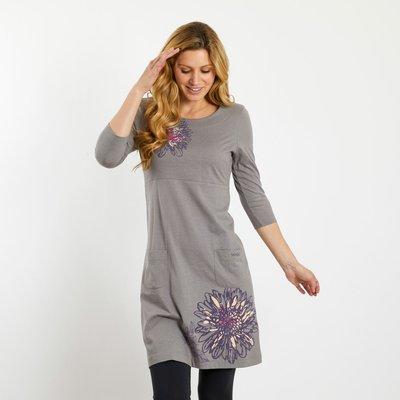 Weird Fish Sandpiper Printed Jersey Dress Grey Marl