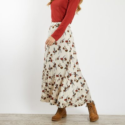 Weird Fish Coco Brushed Twill Printed Maxi Skirt Chalk