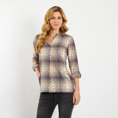 Weird Fish Eliza Embroidered Check Flannel Longline Shirt Dark Navy
