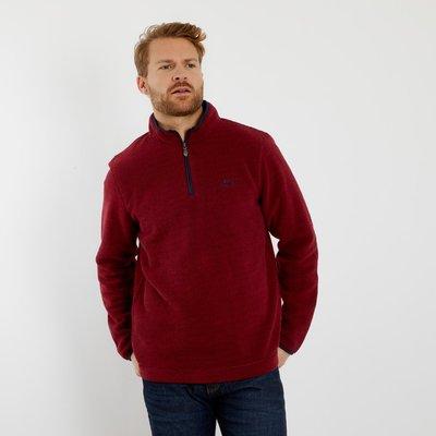 Weird Fish Errill 1/4 Zip Textured Fleece Sweatshirt Oxblood