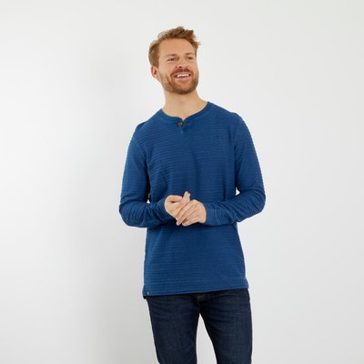 Weird Fish Montgomery Jacquard Stripe Henley T-Shirt Indigo