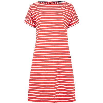 Weird Fish Etta Striped Jersey Dress Radical Red