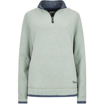 Weird Fish Beyonce Grid Fleece Sweatshirt Silver Sage