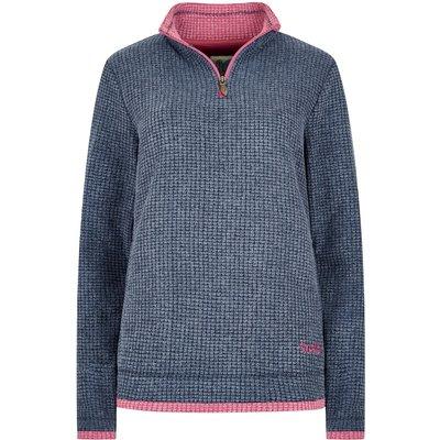 Weird Fish Beyonce 1/4 Zip Grid Fleece Sweatshirt Navy