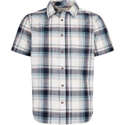 Weird Fish Modbury Short Sleeve Checkered Shirt Navy