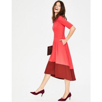 Wren Ponte Midi Dress Red Women Boden, Pink