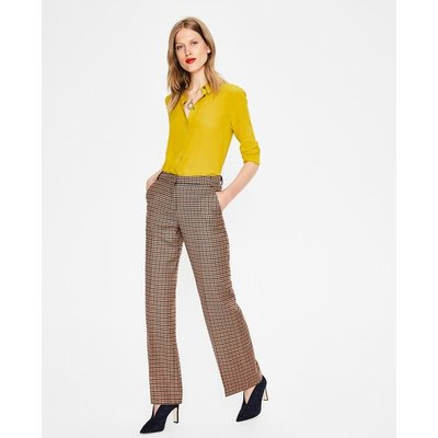 British Tweed Trousers Navy Women Boden, Brown