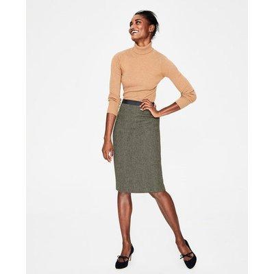 British Tweed Pencil Skirt Green Women Boden, Green