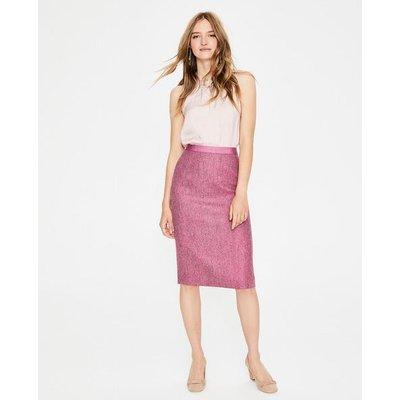 British Tweed Pencil Skirt Pink Women Boden, Red