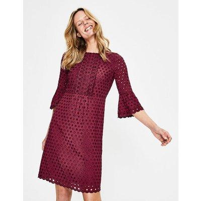 Scallop Broderie Dress Purple Women Boden, Navy