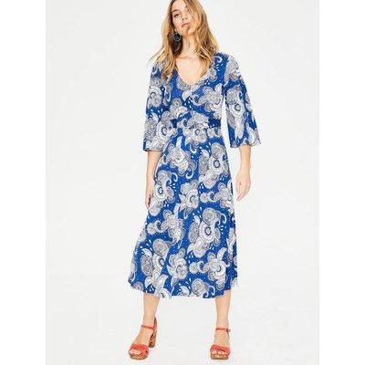 Louisa Jersey Dress Riviera Blue Paisley Garden Women Boden, Riviera Blue Paisley Garden