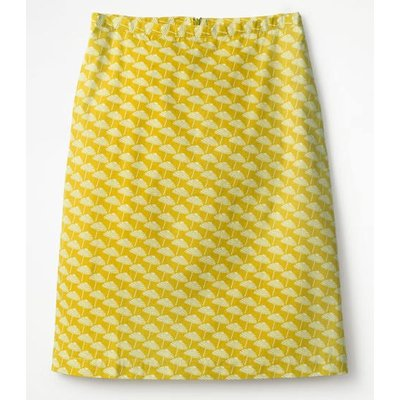 Printed Cotton A-line Skirt Yellow Women Boden, Yellow