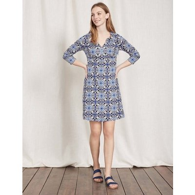 Casual Linen Tunic Imperial Blue Woodblock Print Women Boden, Imperial Blue Woodblock Print