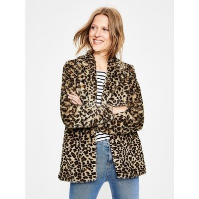 Boxgrove Faux Fur Coat Brown Women Boden, Leopard