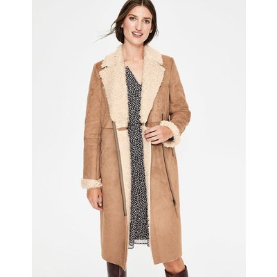 Faux Shearling Coat Natural Women Boden, Brown