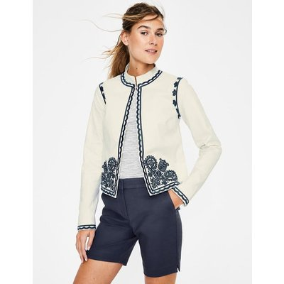 Lisbon Embroidered Jacket Ivory Women Boden, Ivory