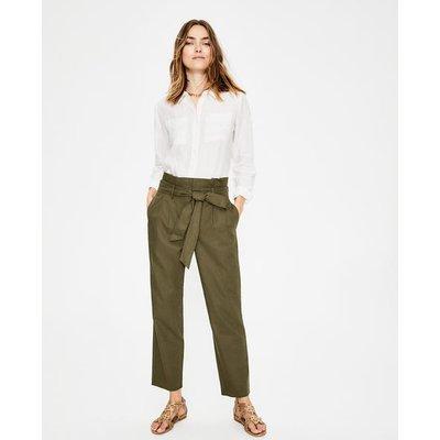St Ives Paperbag Trousers Khaki Women Boden, Khaki