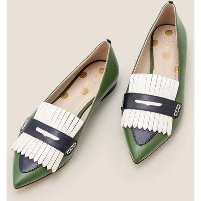 Bea Fringe Flats Green Women Boden, Navy