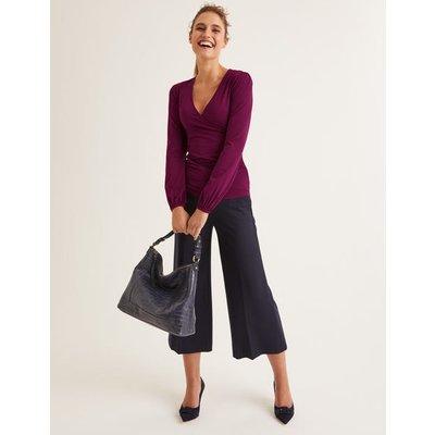 Elodie Jersey Wrap Top Purple Women Boden, Purple