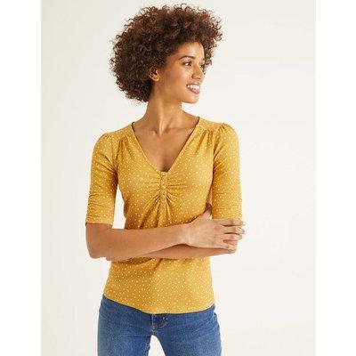 Jane Jersey Top Yellow Women Boden, Orange