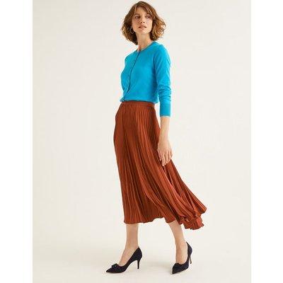 Kristen Pleated Skirt Brown Women Boden, Brown