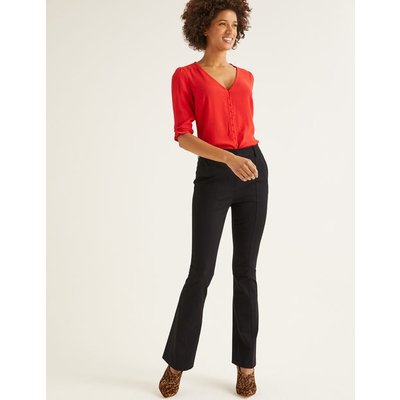 Bath Bi-Stretch Flare Trousers Black Women Boden, Black
