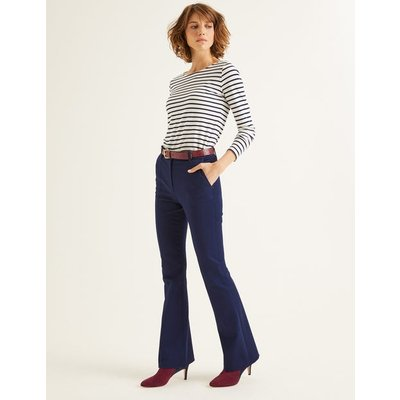 Bath Bi-Stretch Flare Trousers Navy Women Boden, Navy